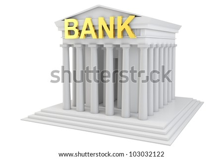 3d bank building with golden sign on white background - stock photo