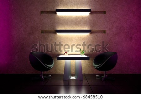 3d bar intimate atmosphere and interior design - stock photo