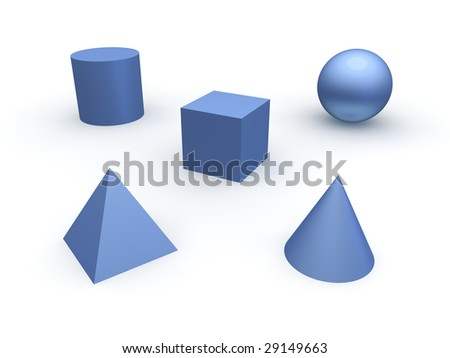 3d basic objects. Sphere, cube, cone, cylinder and pyramid.