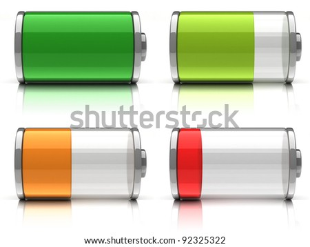 3d Battery icons with different charge levels on white background