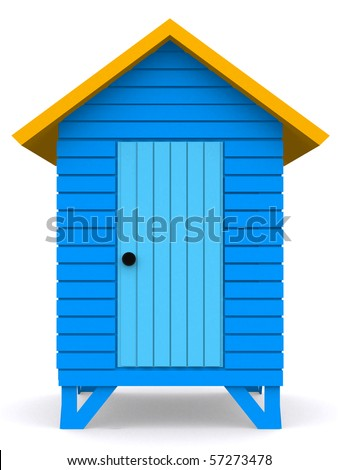3D Beach hut isolated over a white background