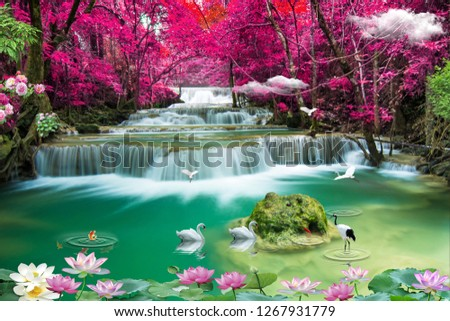3D beautiful backgrounds sea and waterfall ,bird, fish