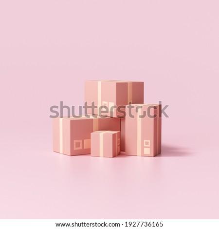 3d beautiful parcels cardboard box on pink background, packaging. 3d render illustration Stockfoto ©