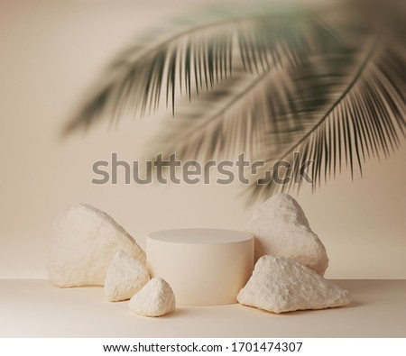 3D beige podium display with palm leaf behind frosted glass. Summer pastel background with stones and cylinder pedestal for product promotion. Beauty holiday mockup. 3D render trendy banner template
