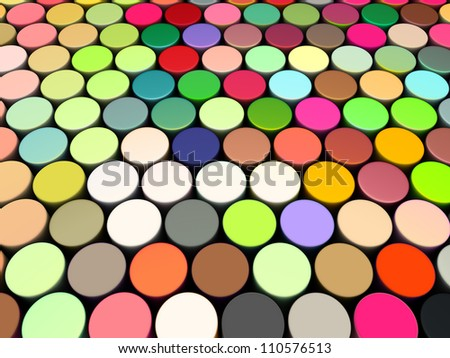 3d beveled cylinder shape in multi rainbow color