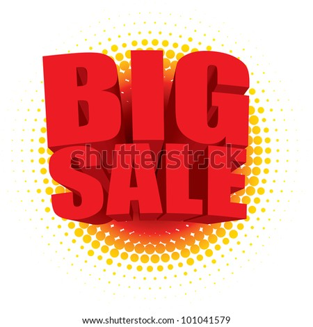 3D big sale text bursting out of a radial halftone pattern