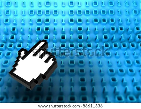 3D binary code on board with hand icon