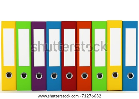 3d binders with blank labels isolated on white