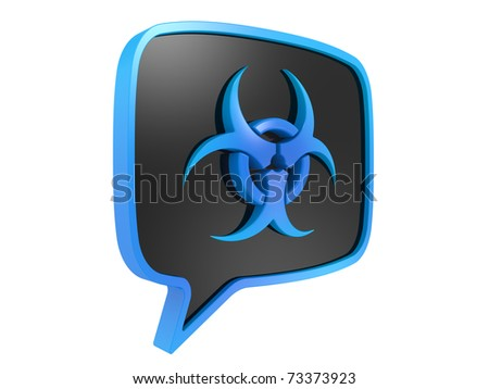 3D Biohazard sign on a white background
