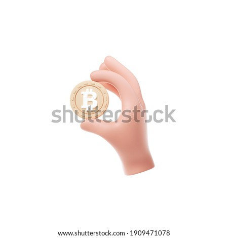3D bitcoin holding icon on isolate white background, closeup cartoon hand hold cryptocurrency coin, bitcoin trading and mining sign. 3d render illustration