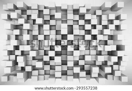 Stock Photo 3d black and white boxes  extruded with gradient background.