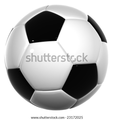 3d black and white leather soccer ball isolated on white background, for sport, recreation or football designs