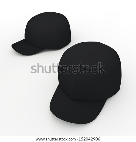 3d black baseball cap, baseball hat, headgear blank template in isolated background with clipping paths, work paths included