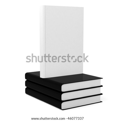 3d black books and white book with blank cover on top