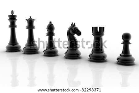 3d black chess pieces on white background