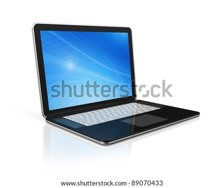 3D black laptop computer isolated on white with 2 clipping path : one for global scene and one for the screen