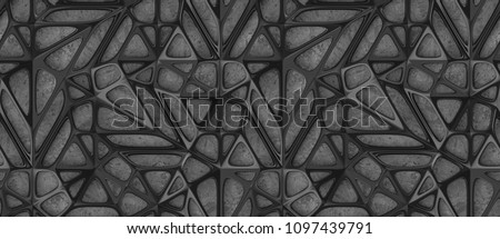3d black lattice tiles on gray concrete background. High quality seamless realistic texture.