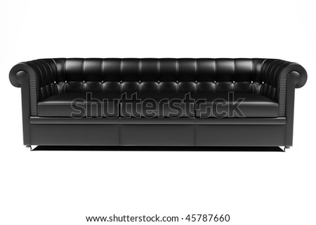 top view of black leather sofa isolated on white background