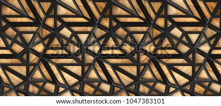 3d black loft lattice tiles on wooden oak background. Material wood oak. High quality seamless realistic texture.