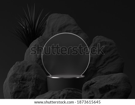 3D black palm,stone, rock podium display. Copy space circle  background. Cosmetics or beauty product promotion mockup.  Natural rough silver grey,  step pedestal. Trendy minimalist banner, 3D render