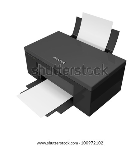 3d Black Printer with paper isolated on white background