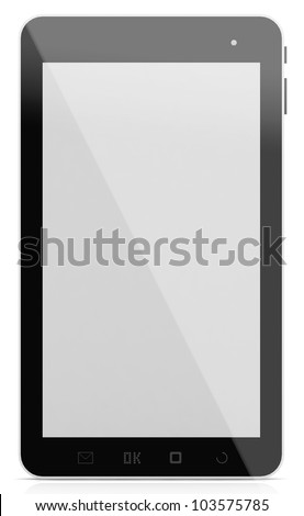 3D Black tablet pc on white background.