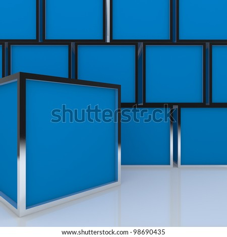 3D blank abstract blue box display new design aluminum frame template for design work, on white background. - stock photo