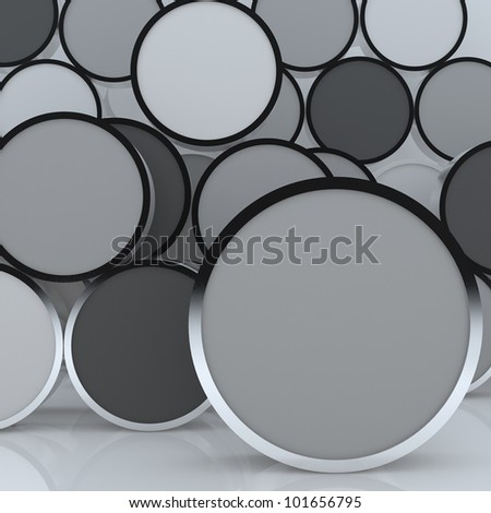 3D blank abstract  gray rounded box display new design aluminum frame template for design work, on white background.
