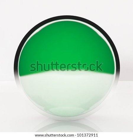 3d blank abstract green button with white background.