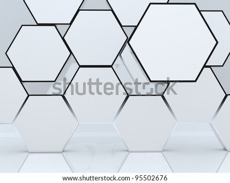 3D blank abstract hexagon box display new design aluminum frame template for design work, on white background.