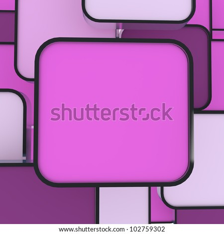 3D blank abstract pink box display new design aluminum frame template for design work
