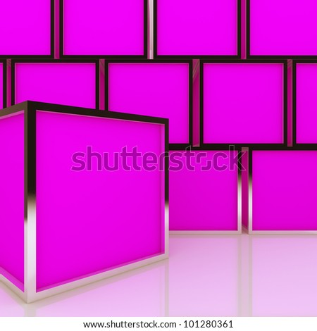 3D blank abstract pink box display new design aluminum frame template for design work, on white background.