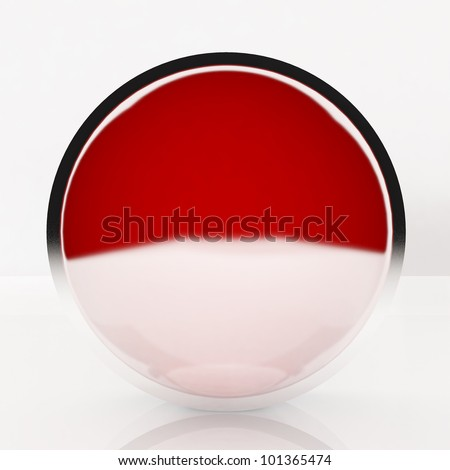 3d blank abstract red button with white background.