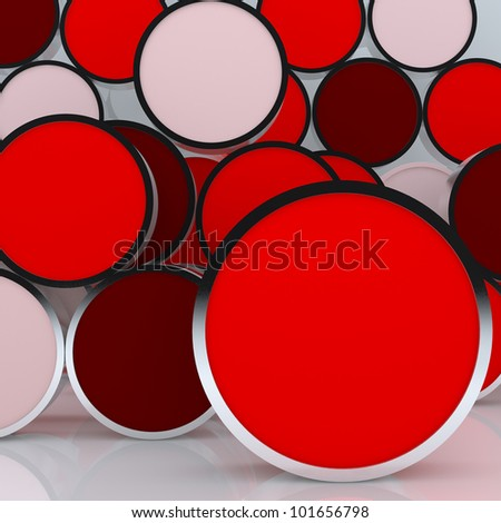 3D blank abstract  red rounded box display new design aluminum frame template for design work, on white background.