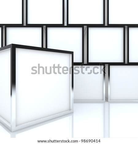 3D blank abstract white box display new design aluminum frame template for design work, on white background.