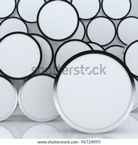3D blank abstract white rounded box display new design aluminum frame template for design work, on white background. - stock photo