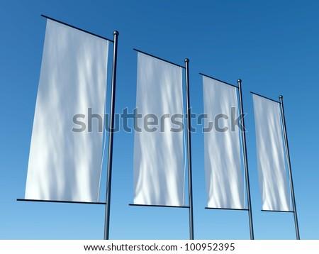3d blank advertising flags or billboards