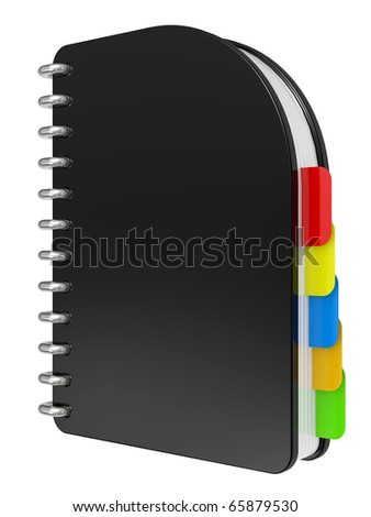 3D blank, black notebook isolated on white