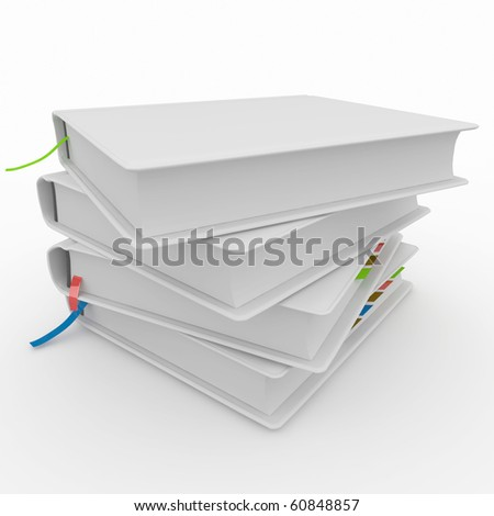 3d blank books isolated on white