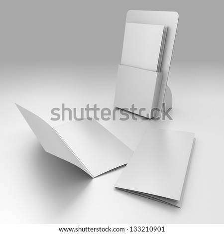 3D blank box display or stand with three wings leaflets