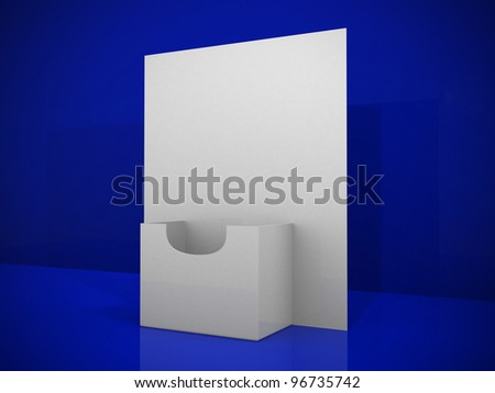 3d blank brochure holder template. 3d render illustration