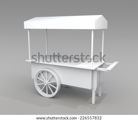 3d blank cart and canopy in...