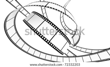 3D Blank film on white background with