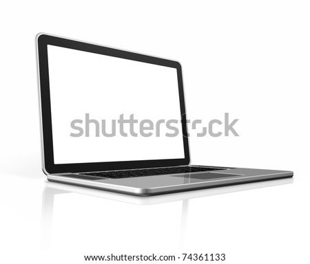 3D blank laptop computer isolated on white with clipping path