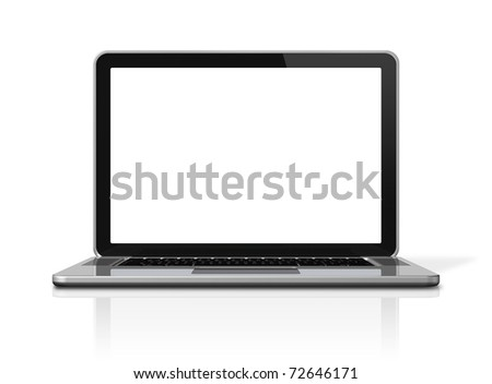 3D blank laptop computer isolated on white with 2 clipping path : one for global scene and one for the screen - stock photo