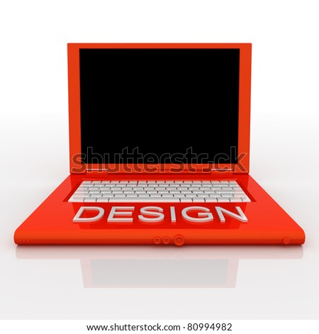 3D blank laptop computer with design word on it