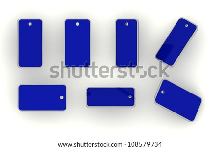 3D blank name tag or label isolated blue color