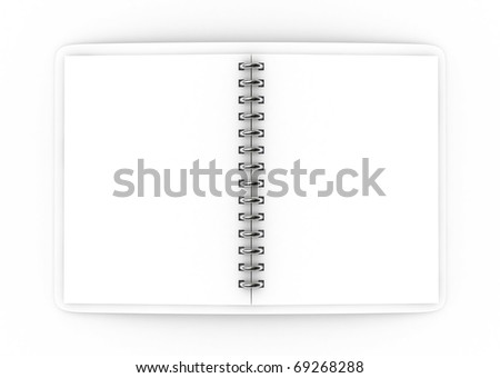 3D Blank notebook on isolated