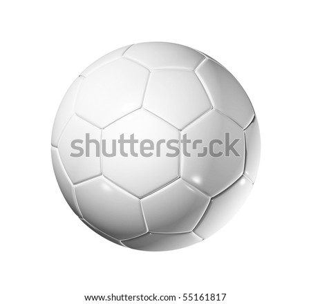 3D blank soccer ball isolated on white with clipping path - stock photo