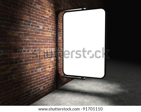 3d Blank street advertising billboard on brick wall at night